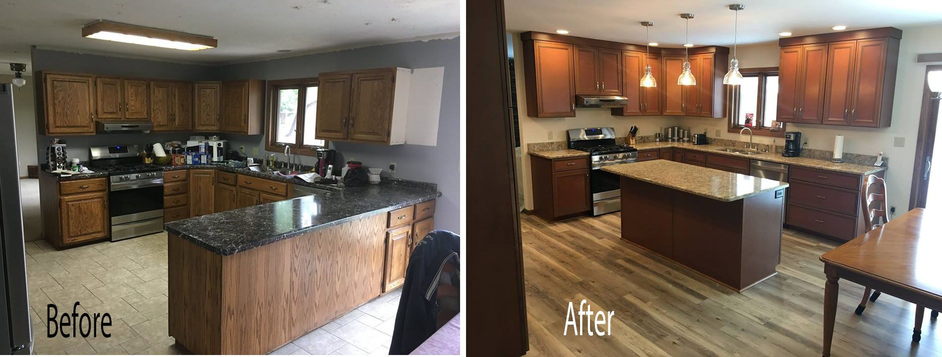Traditional Kitchen Update With New Cabinets And Quartz Countertop Refacing Kitchen Cabinets Home Kitchens Updated Kitchen