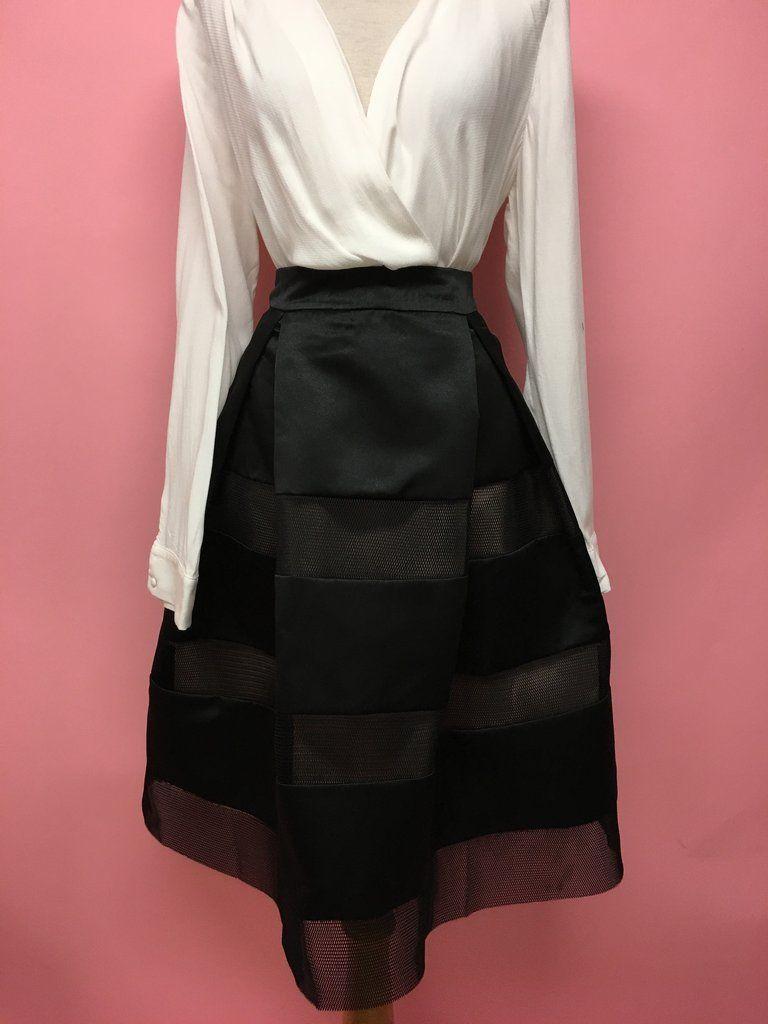 Falda midi negra con red - OH MY! STORE