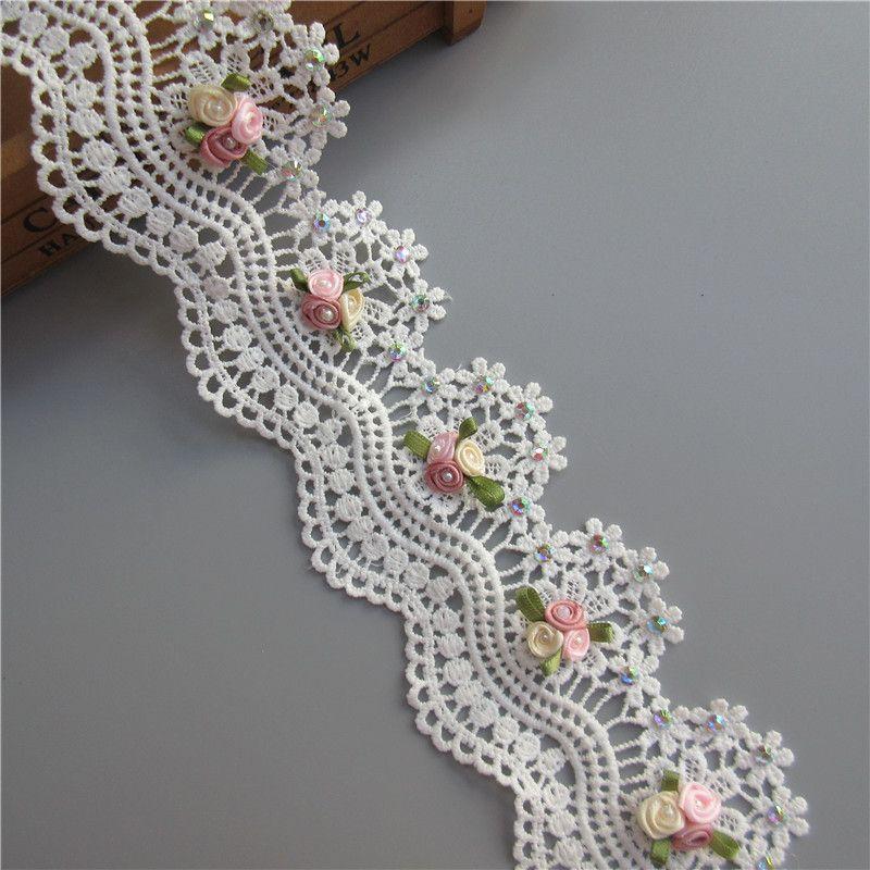 1 M De Algodón Ropa Costura Tela DYI adornos de cinta de encaje de ganchillo rosa C