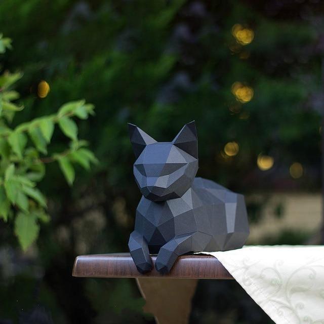 Photo of 22 cm high resting cat bedroom living room cat ratio 3D three-dimensional ornaments paper craft model handmade DIY origami model – Black