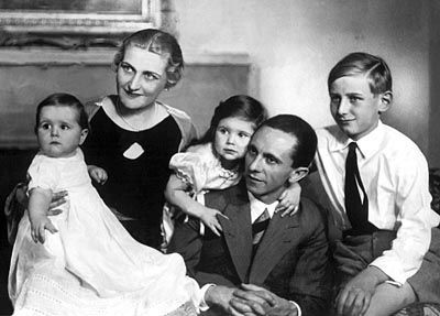 Nazi family values. The Goebbels family, circa 1934. Daddy's girl Helga is cheek-to-cheek with Joseph while baby Hilde is safe in the arms of her mother. Big brother Harald completes the ensemble.