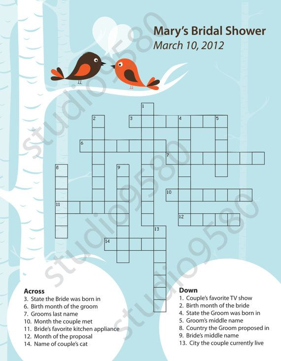 Printable Crossword Puzzle Bridal Shower Game Bridal Shower