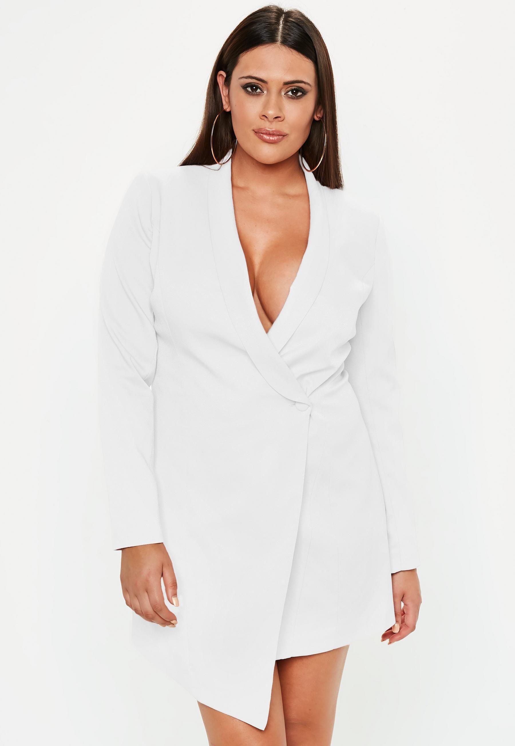 Curve White Blazer Dress Blazer Dress Plus Size Blazer Tuxedo Dress [ 2607 x 1800 Pixel ]