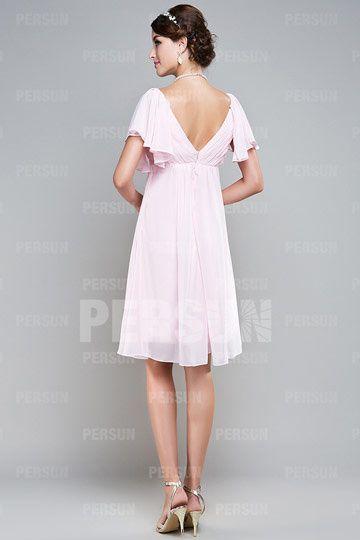 Robe courte en mousseline rose