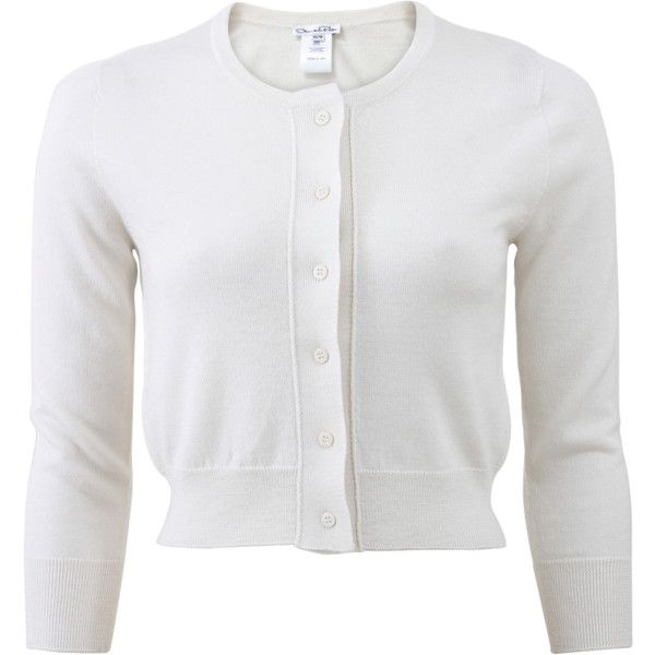 Oscar De La Renta Cropped Cardigan (46,360 DOP) ❤ liked on Polyvore featuring tops, cardigans, jackets, sweaters, ivory crop top, button front cardigan, crewneck cardigan, cut-out crop tops and cashmere cardigan