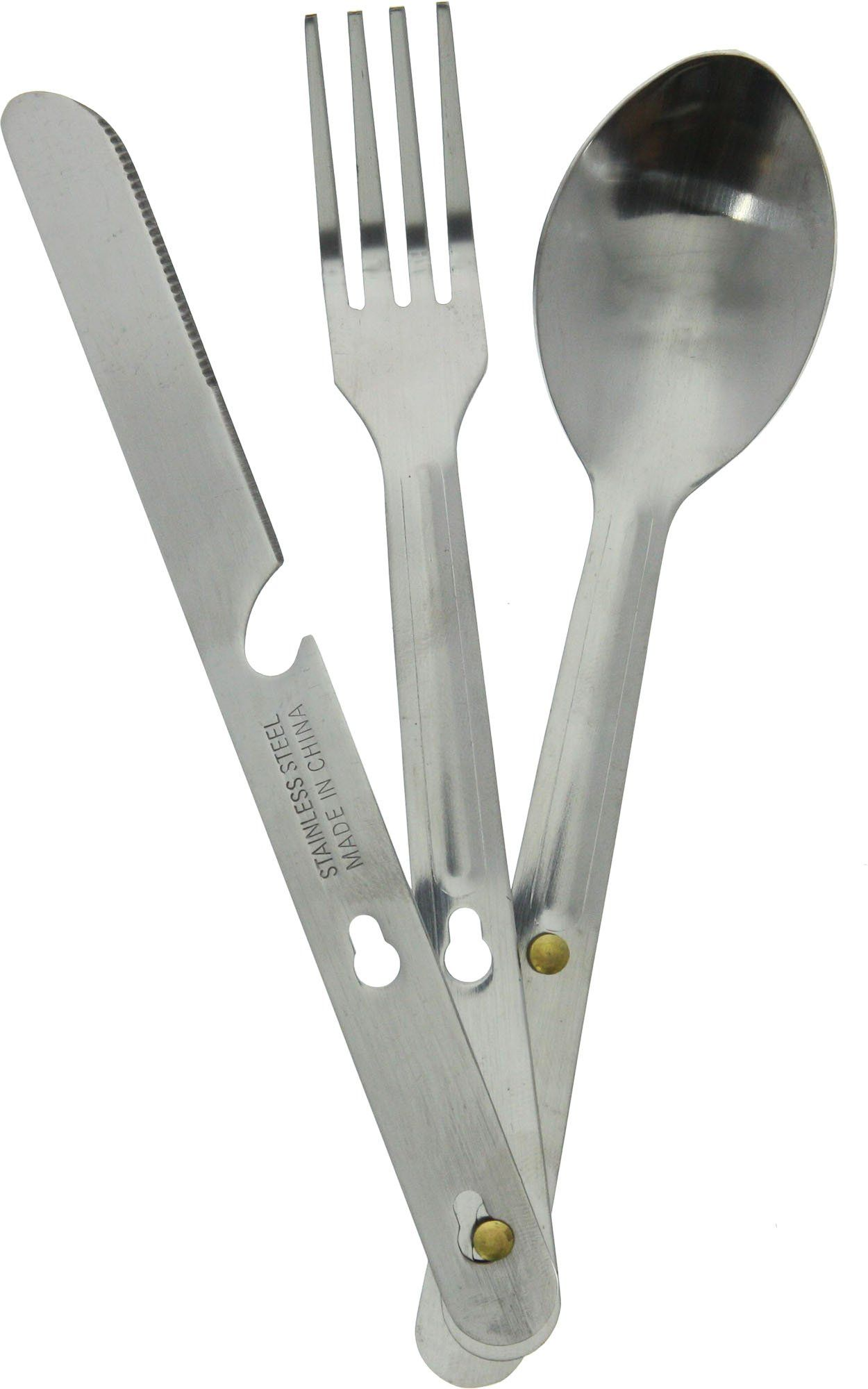 Amazon.com : 4 N 1 Stainless Steel Camping Hiking Emergency Eating Utensil Set, Knife, Fork, Bottle Opener & Spoon : Sports & Outdoors