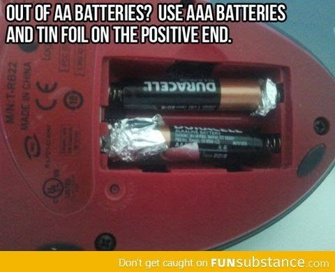 Life Hacks Use Aaa Batteries As Aa W Some Tin Foil Helpful Hints Household Hacks Cleaning Hacks