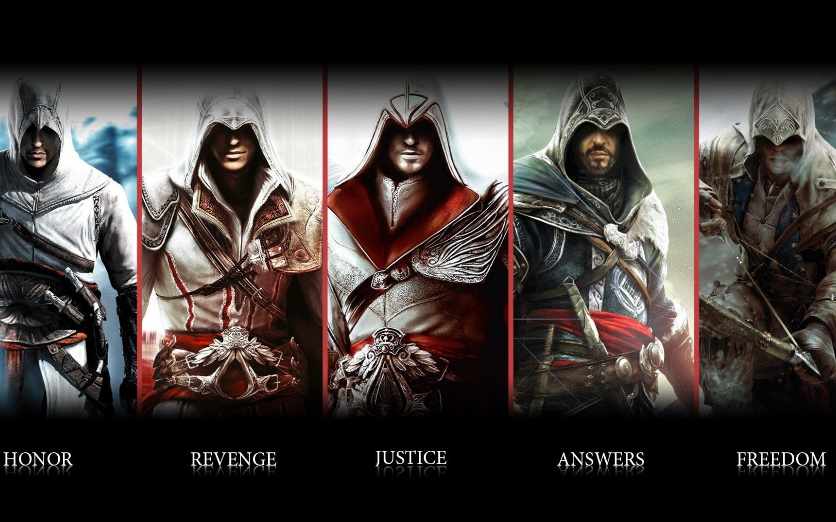 The Faces Of Assassin S Creed Assassin S Creed Wallpaper Assassin S Creed Brotherhood Assassin S Creed Hd