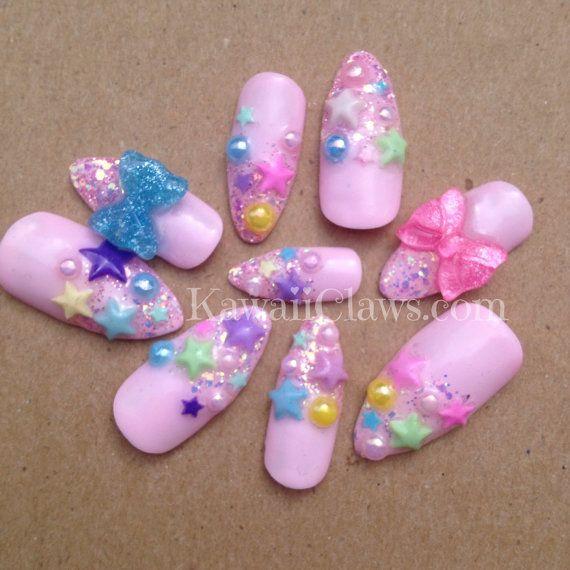 Kawaii star nails | Nailssss | Pinterest | Glitter gel nails ...
