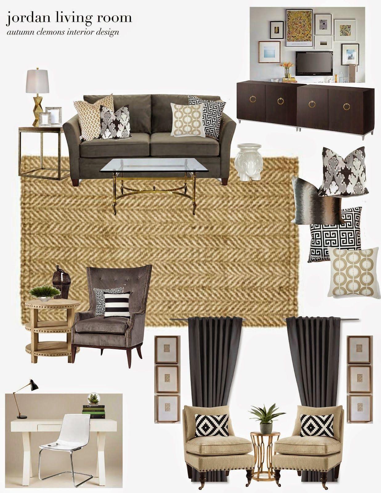 Neutral Living Room Design Plan. Herringbone Jute Rug
