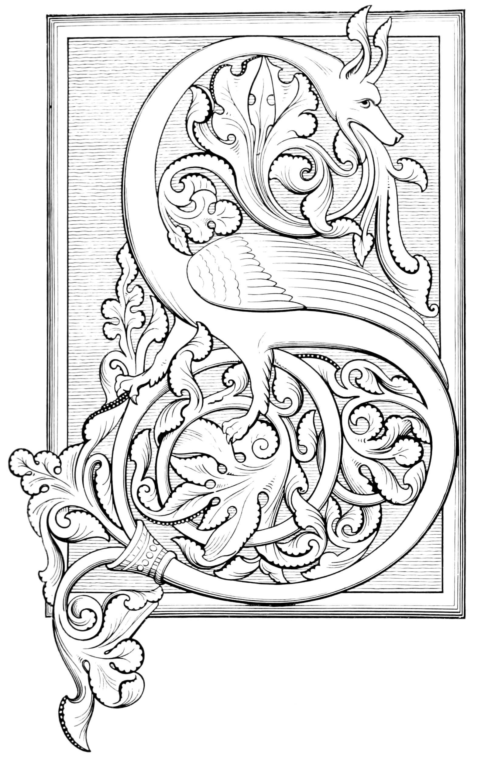 Illuminated Letter Coloring Page