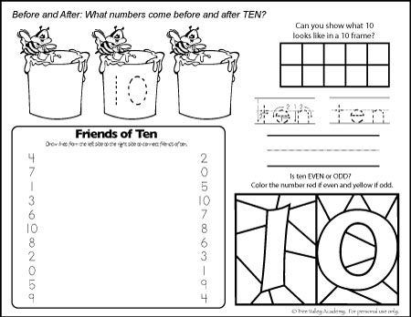 Free Number 10 Worksheets For Kindergarten Grade 1 Preschool Free Math Printables Free Math Worksheets Free Math