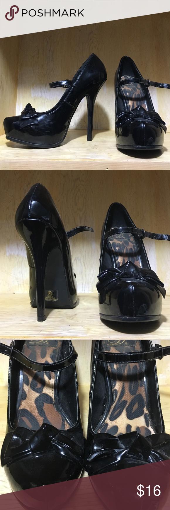 Black heels with bow Cute Black heels with bow Shoes Heels