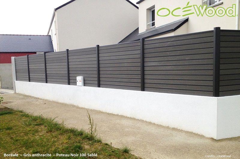 finest ocwood panneaux de clture composite sur muret gamme borale lames gris clair et poteaux. Black Bedroom Furniture Sets. Home Design Ideas