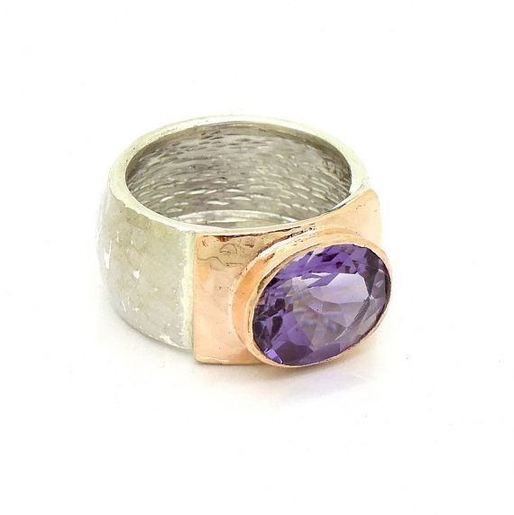 Amethyst ring, oval faceted stone hammered silver & rose gold