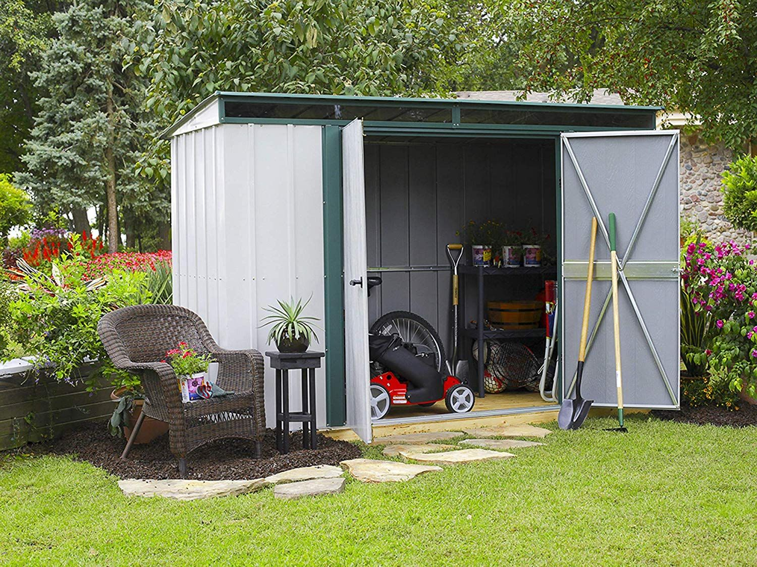 Amazon Com Arrow 10 X 4 Euro Lite Shed Eggshell With Green Trim And Pent Roof Steel Storage Shed Gat Building A Shed Shed Landscaping Steel Storage Sheds