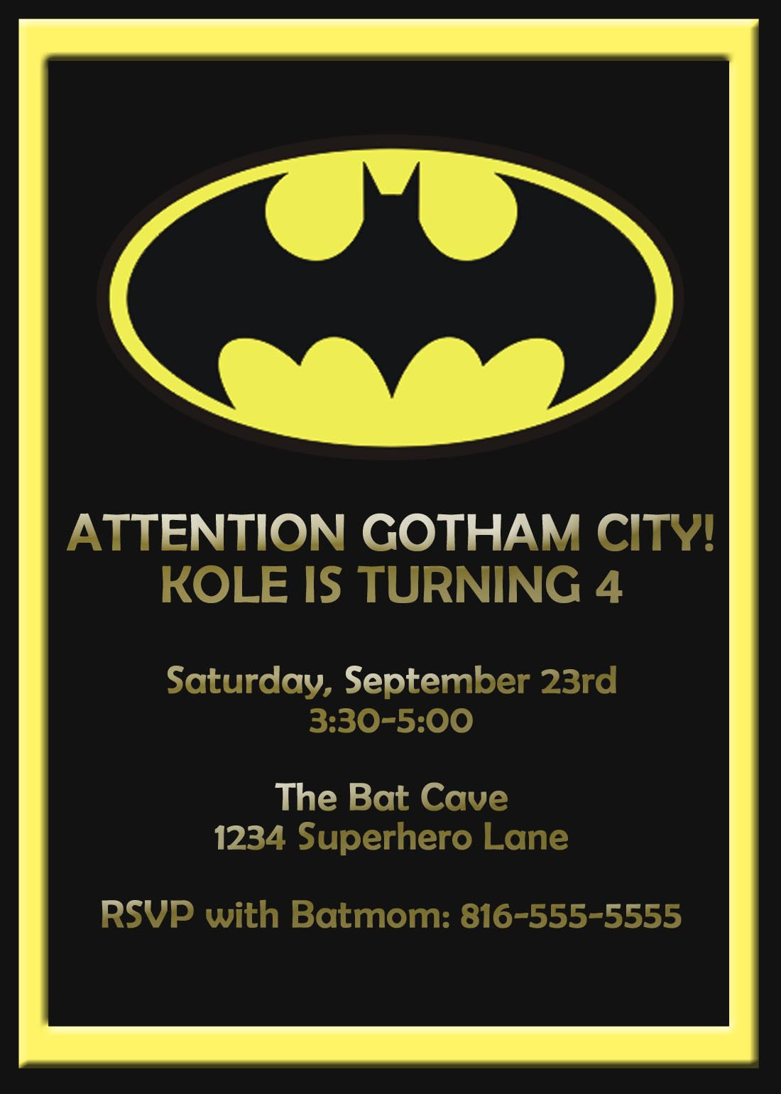 Batman Birthday Card Template Google Search Batman B Day