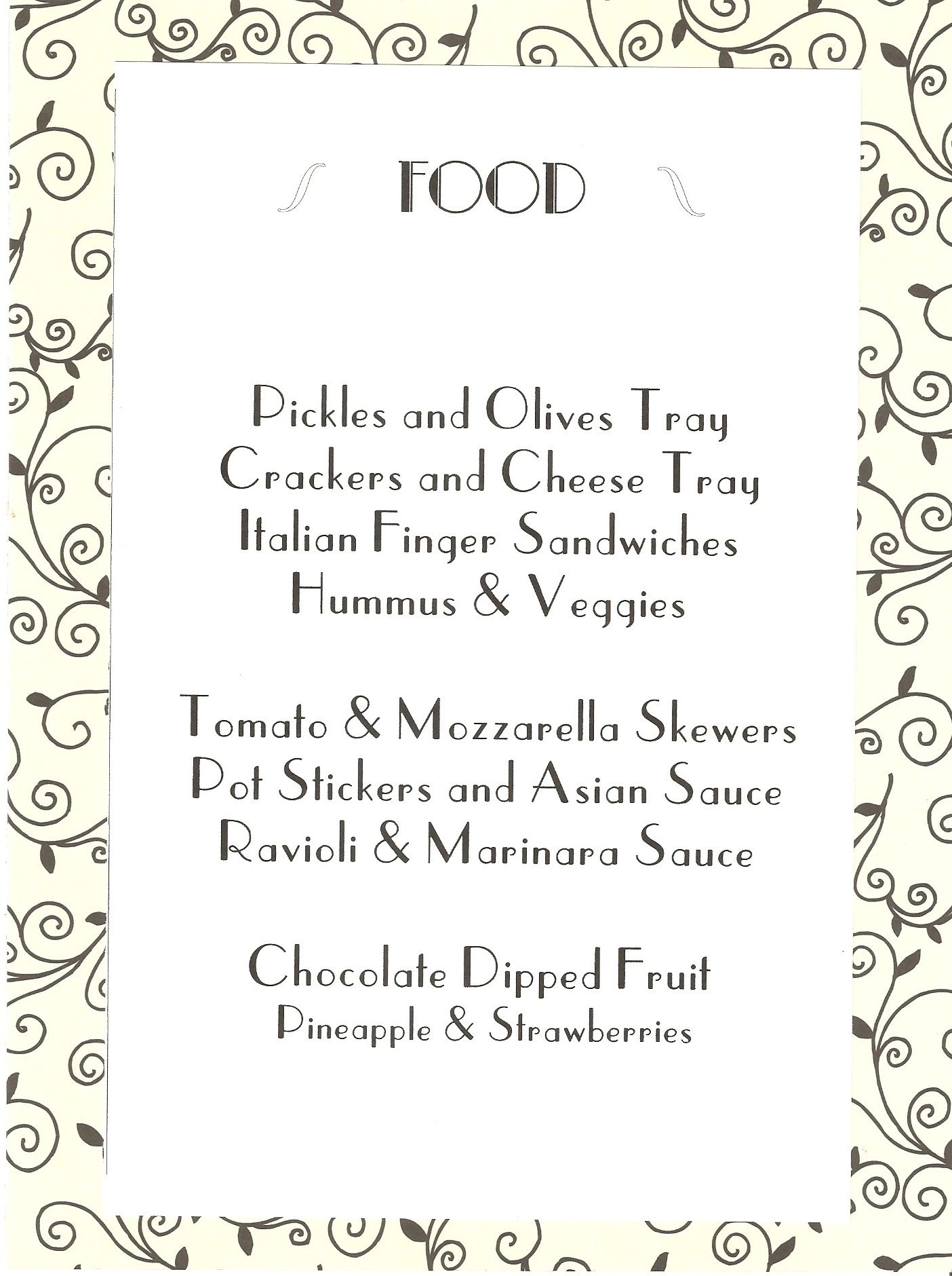1920s Themed Food Really Makes The Party Realistic You Can Also Present The Menu Like This On Each Tabl Mystery Dinner Party Gatsby Party Food Speakeasy Party