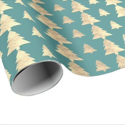 mint teal cottage gold blush christmas tree kraft wrapping paper