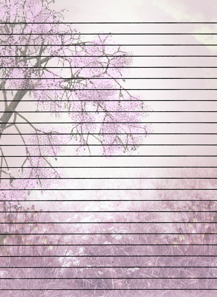 Lined Tree Blossoms Note Paper.  Free Printable Lined Writing Paper