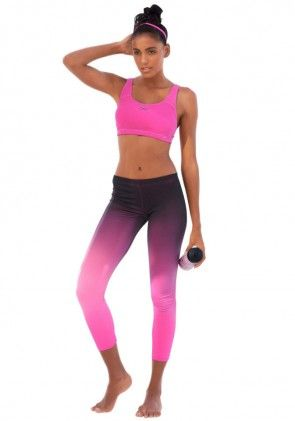 Work out leggings, pink-black