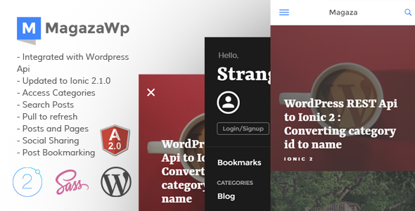 awesome Magaza Ionic two App for WordPress (Complete Applications ...