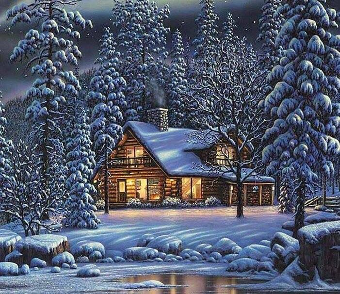 old cabin winter scene wallpaper - photo #16
