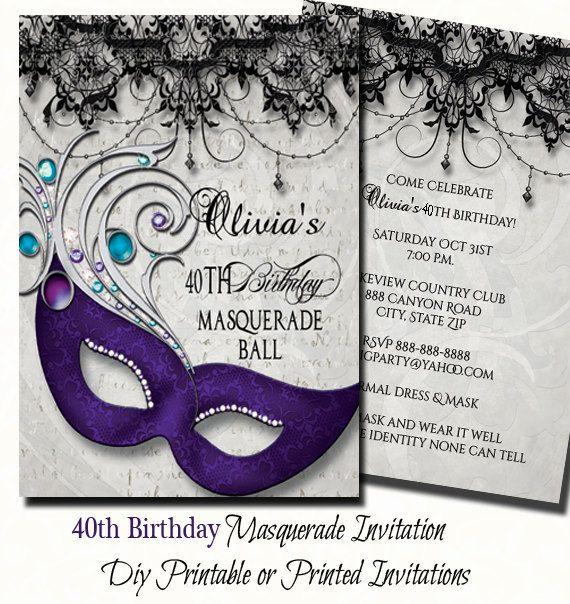 40th Birthday Masquerade Party Invitation – Masquerade Party Invitation Ideas