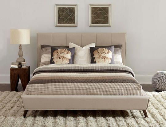 square silhouette headboard with folded in vertical seams welting