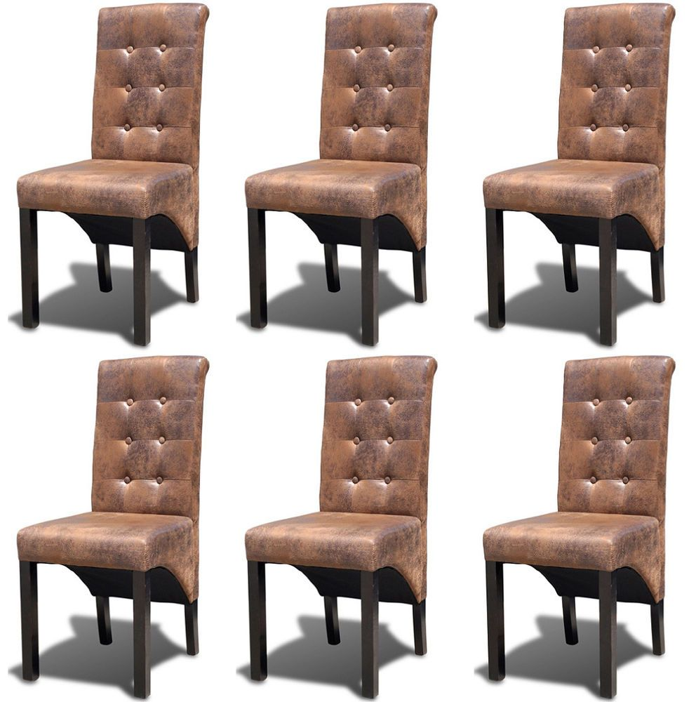 Wooden chairs for living room - Dining Chairs Set Of 6 Faux Leather Kitchen Living Room Furniture Wood Chair