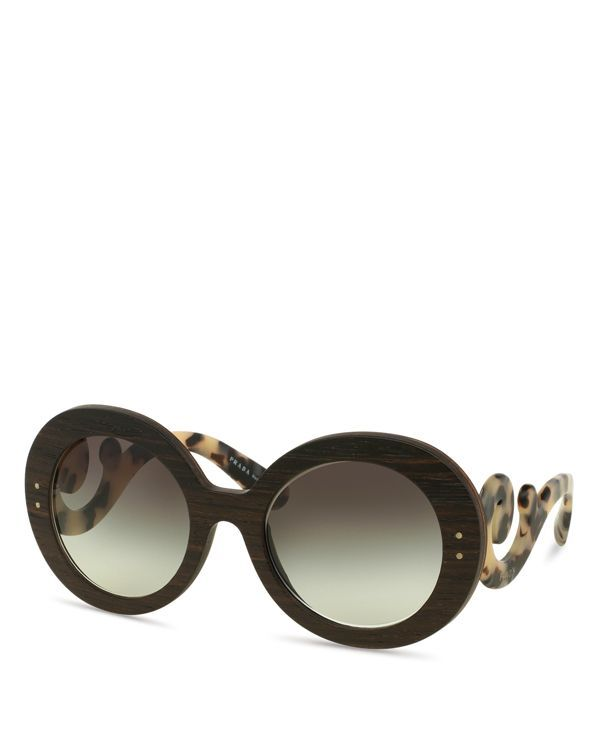 de4f59ba17be Prada Wooden Baroque Round Sunglasses