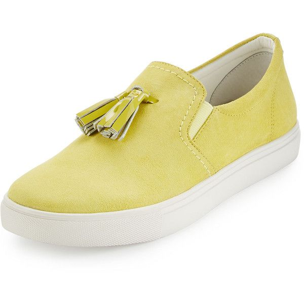 Donald J Pliner Sonora Suede Tassel Sneaker (€185) ❤ liked on Polyvore featuring shoes, sneakers, lemon, sports shoes, sport shoes, round toe sneakers, suede slip on shoes and low heel shoes