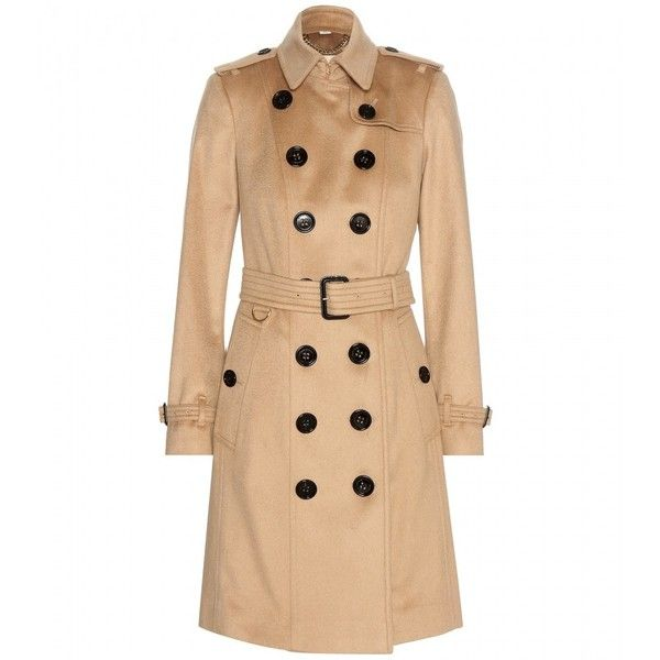 Burberry London Cashmere Trench Coat (3,245 CAD) ❤ liked on Polyvore featuring outerwear, coats, beige, burberry, cashmere trench coat, beige coat, burberry trenchcoat e beige trench coat