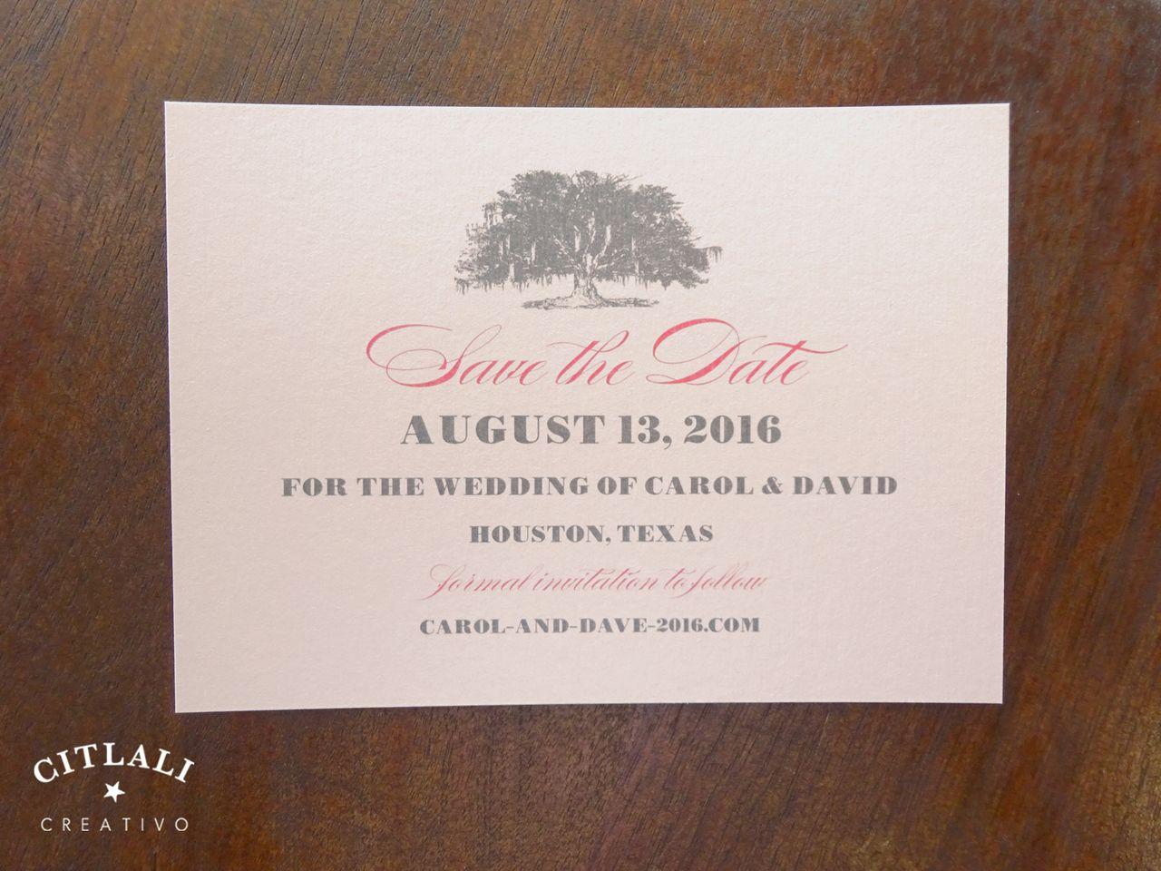 Elegant Simple Tree Blush Wedding Save The Dates Elegant