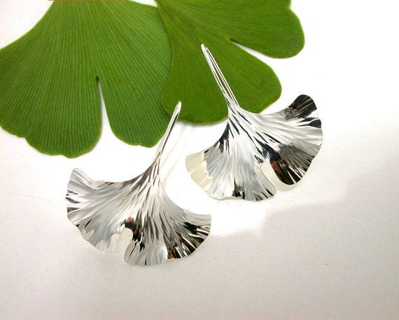 Ginkgo Earrings Sterling Silver Larger Sized 104ss by Ginkgo, $52.00