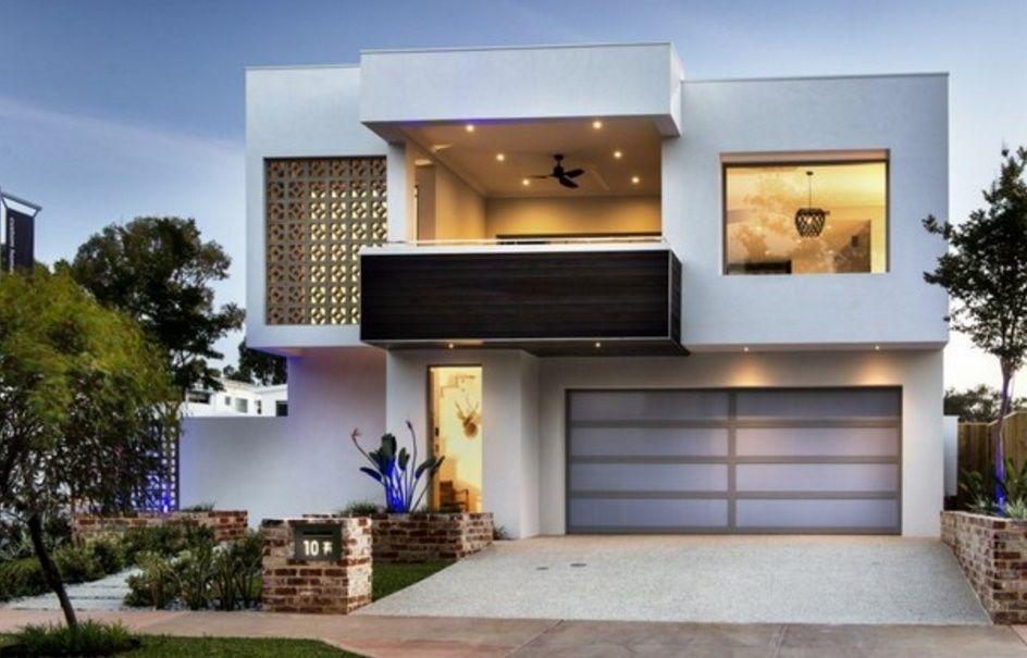 Fachada De Casa Moderna Con Balcon Y Cochera Doble Fachadas De Casas Modernas Fachada De Casas Bonitas Fachada De Casa