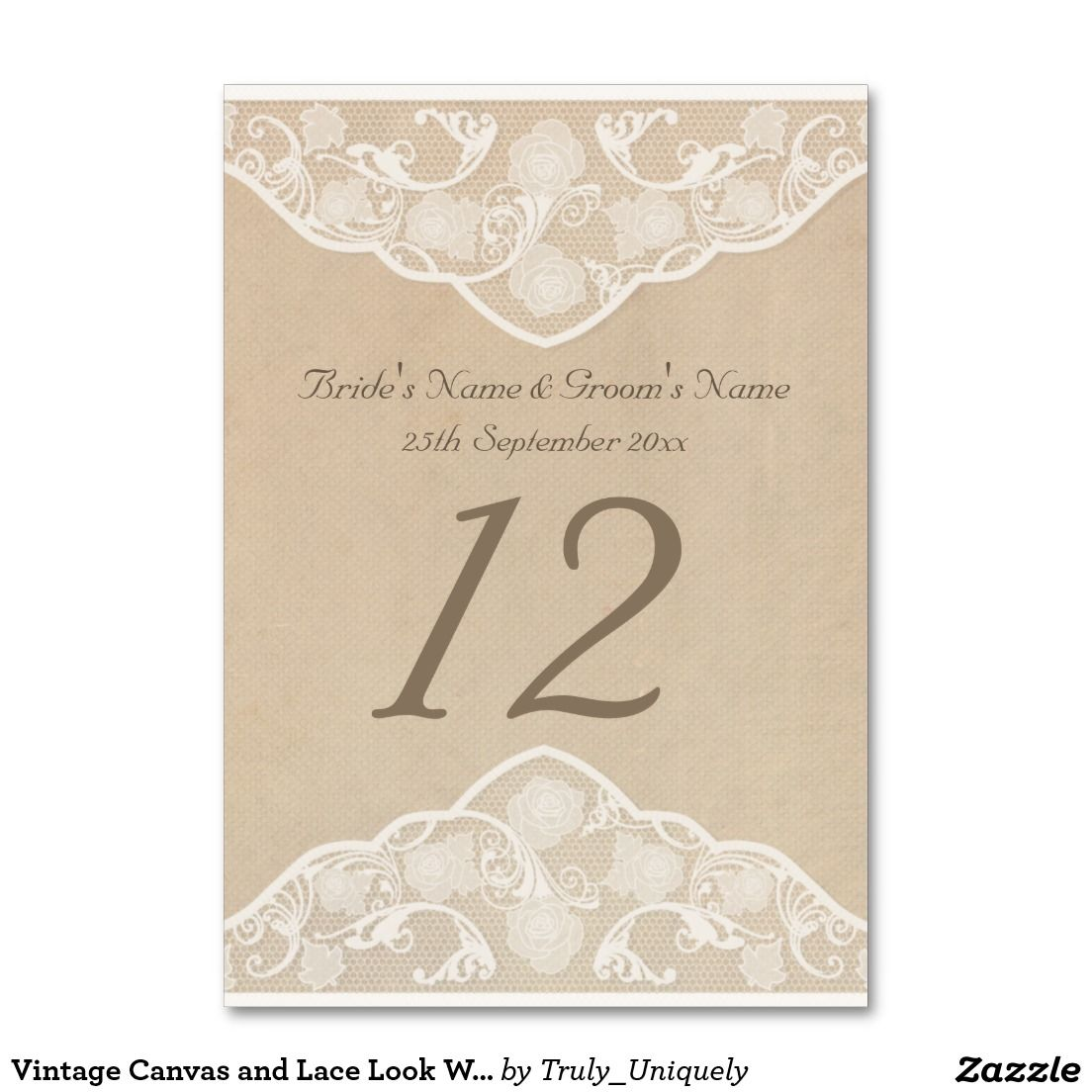 Vintage Canvas And Lace Look Wedding Table Number Vintage Canvas