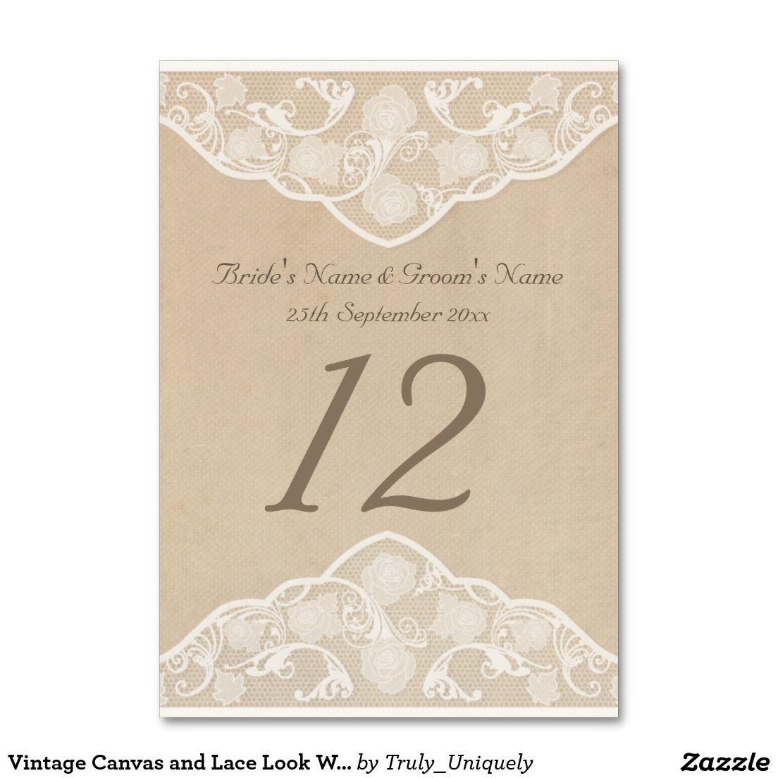 Vintage Leinwand und Spitze Blick Wedding