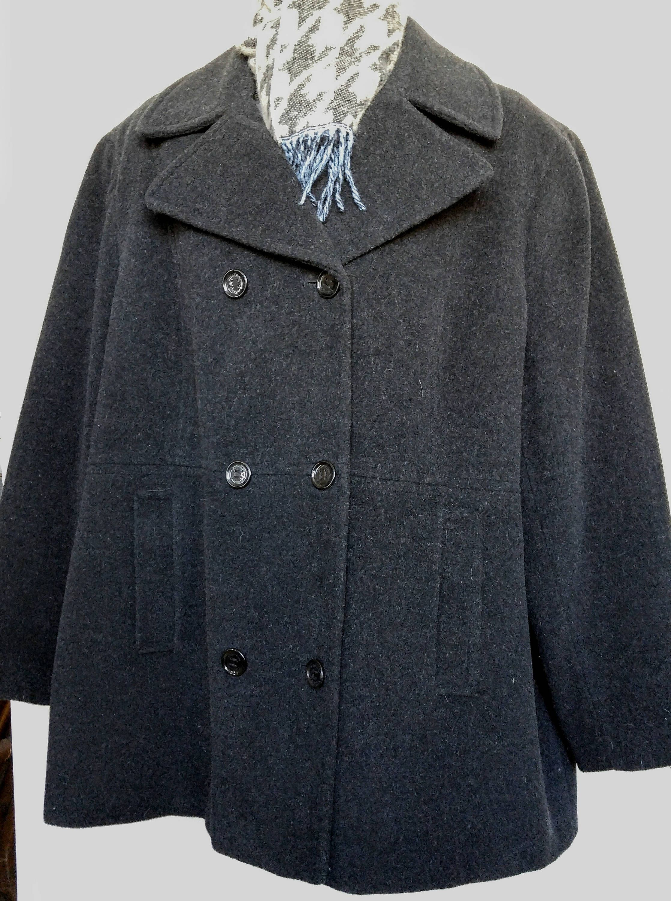 8d86a220490 Womens Plus 3X CALVIN KLEIN Gray Peacoat Jacket Wool blend Pea Coat 52 EUC  Free Scarf by ValsValueVintage on Etsy