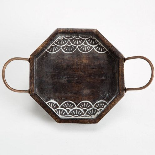 Handcarved Rosewood Hexagon Accent Tray