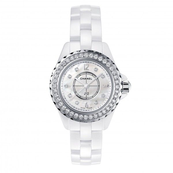 Style 123202 Diamontrigue Jewelry: Chanel J12 White Ceramic Diamonds Mother Of Pearl 29mm