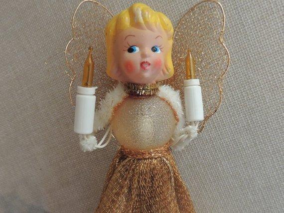 Vintage ANGEL Lighted Christmas Tree Topper 7\