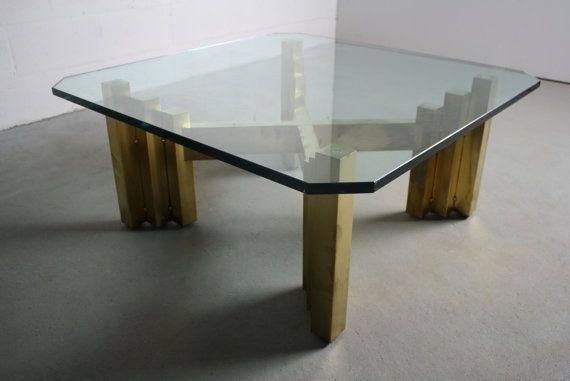 Ultra Glam Brutalist Brass Coffee Table Octagonal Glass Top