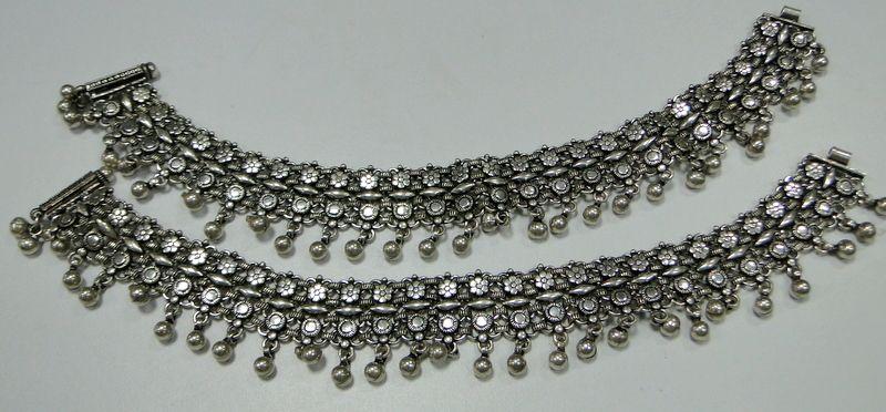 Solid Silver Wide Anklet Pair Reversible Design Ankle Bracelet 9220 Tribalexport