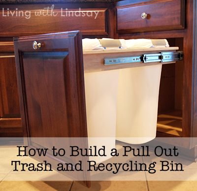 diy trash/recycling bins in the cabinet.