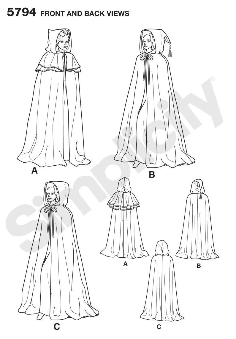 Simplicity 5794 simple cape with three types of hoods and optional ...