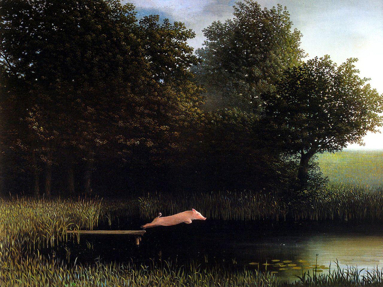Michael Sowa Diving Pig I Never Tire Of This One Artisch Michael Sowa Pig Art Art