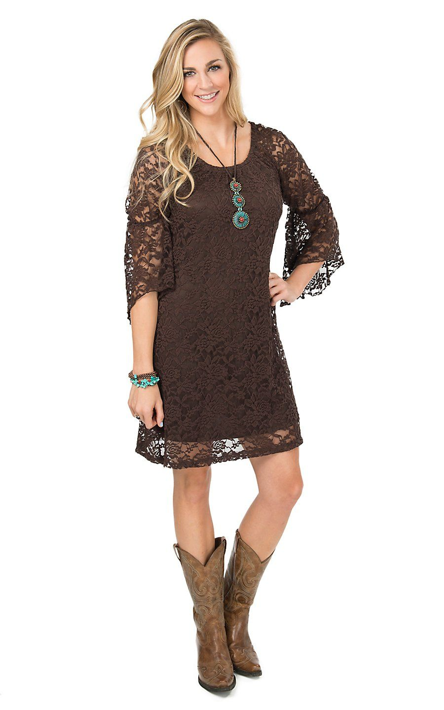 Jody women 39 s brown lace 3 4 bell sleeve dress cavender 39 s for Brown lace wedding dress