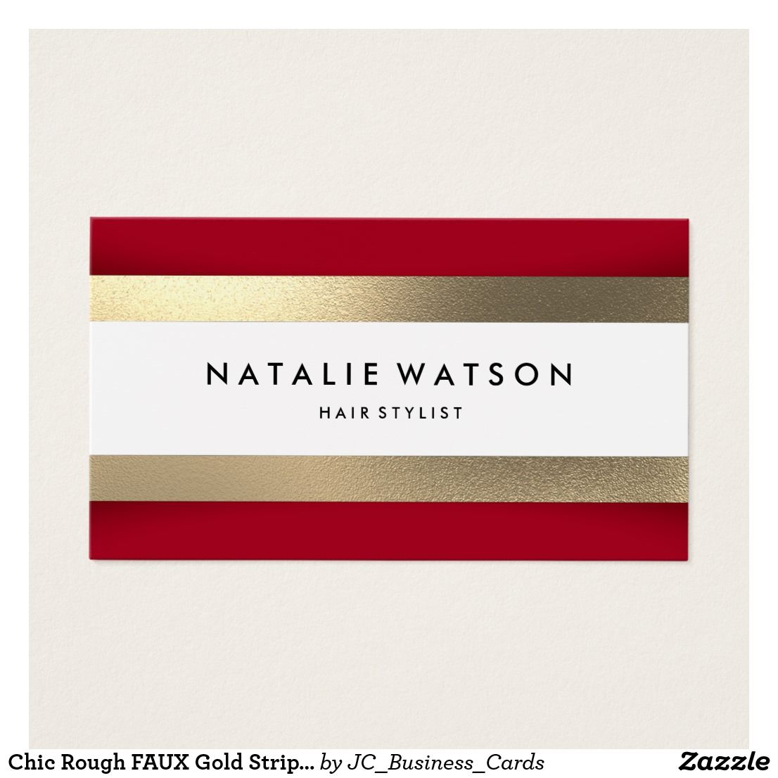 Chic Rough Faux Gold Stripes Red Modern Business Card Gold Stripes