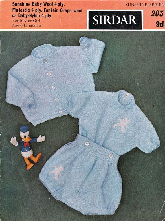 2e94b8a5954f Sirdar Sunshine 203 baby romper suit cardigan set by Ellisadine ...